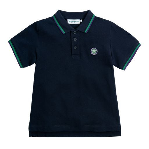 Kids Cotton Pique Polo Shirt with Championships Logo - Midnight