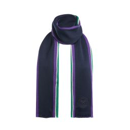 Merino Scarf with Purple and Green Stripes - Midnight
