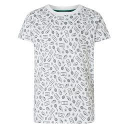 Kids Tennis Pattern T-Shirt - White