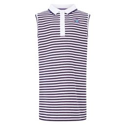 Kid's Dress - White and Purple Stripes