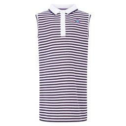 Kids Dress - White and Purple Stripes
