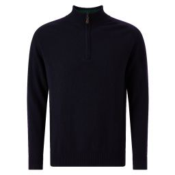 Men's Cashmere Zip Pullover - Midnight