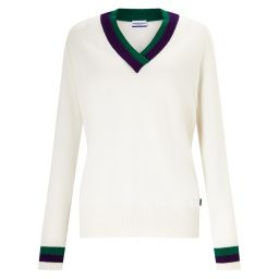 Women's Cashmere V-Neck Sweater - Cream