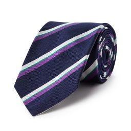 Wimbledon Stripe Tie - Navy