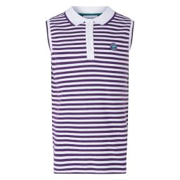 Kid's Sleeveless Striped Polo - Purple and White