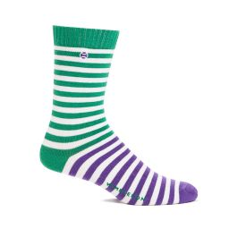 Sports Socks Striped - Green & Purple