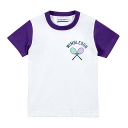 Kids Racket T-Shirt with Contrasting Sleeves - White and Purple