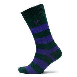 Men's Striped Socks - Green & Purple