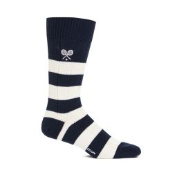 Men's Rugby Striped Socks - Navy & Cream