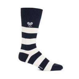 Men's Rugby Striped Socks - Navy & Cream