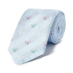 Crossed Rackets Tie - Light Blue