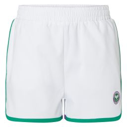 Kid's Championships Performance Shorts - White and Green Stripes