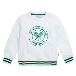 Kids Flocked Sweatshirt - White With Green Logo