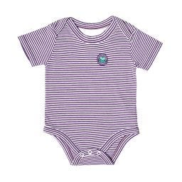 Yarn Dyed Stripe Babygrow - Purple