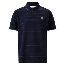 Men's Cotton Pique House Colour Stripe Polo Shirt - Midnight