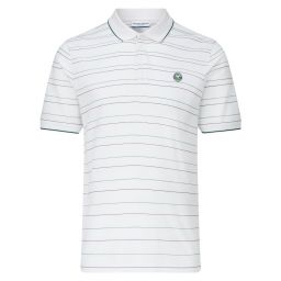 Men's Cotton Pique House Colour Stripe Polo Shirt - White
