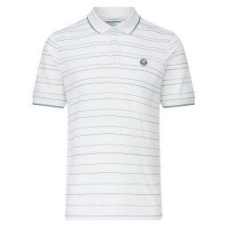 Men's Cotton Pique House Colour Stripe Polo Shirt - White