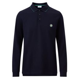 Men's Classic Cotton Long Sleeve Polo Shirt - Midnight
