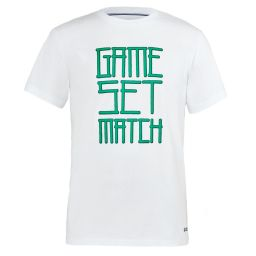 Men's Game Set And Match Printed Tee - White