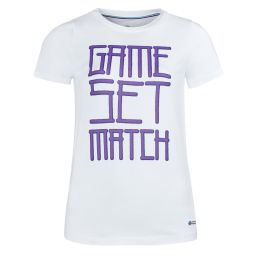 Women's Game Set And Match Printed Tee - White