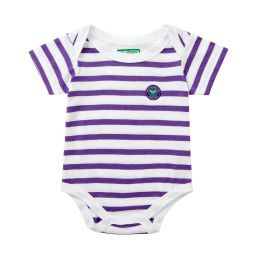 Babygrow - White and Purple Stripes