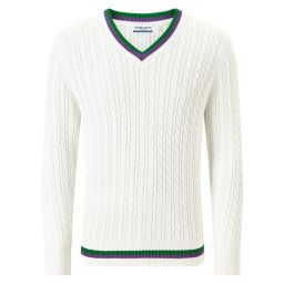 Men's Long Sleeve Cable Knit - White